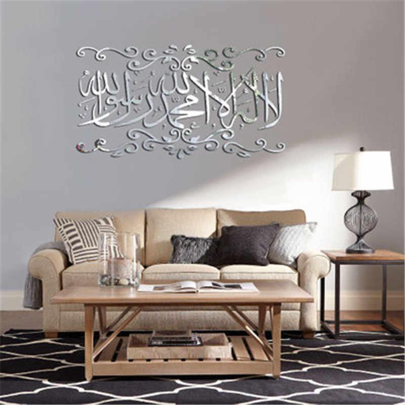 Muslim 3d Quotes Acrylic Mirror Wall Sticker Home Decor Living Room Acrylic Mural Islamic Wall Decal Mirrored Decorative Sticker Wall Stickers Aliexpress