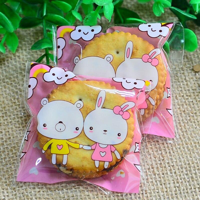 unidslote rosado lindo conejo oso adhesivo bolsa de galletas bolsas de regalo de bricolaje para la fiesta de navidad de ali