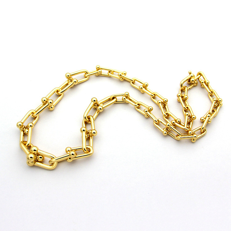 High Quality Titanium Steel Jewelry Letter Gradient U-Shaped Chain Necklace Thick Section Chain Necklace Couple Neck ChainHigh Quality Titanium Steel Jewelry Letter Gradient U-Shaped Chain Necklace Thick Section Chain Necklace Couple Neck Chain