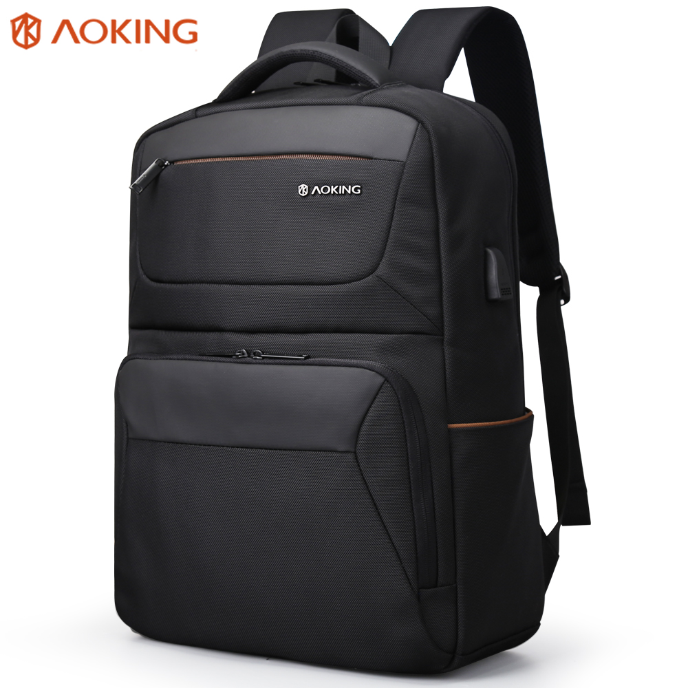 """Aokong Brand Black Backpack Waterproof Men's Travel Bags with USB Port Fashion Business backpack Fits 15.6"""" Laptop for Teenager-in Backpacks from Luggage & Bags    1"""