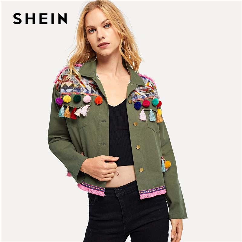 SHEIN Army Green Cotton Pom Pom and Tassel Detail Buttoned C