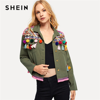 SHEIN Army Green Cotton Pom Pom and Tassel Detail Buttoned Coat Single Breasted Short Outerwear Women Autumn Military Coats
