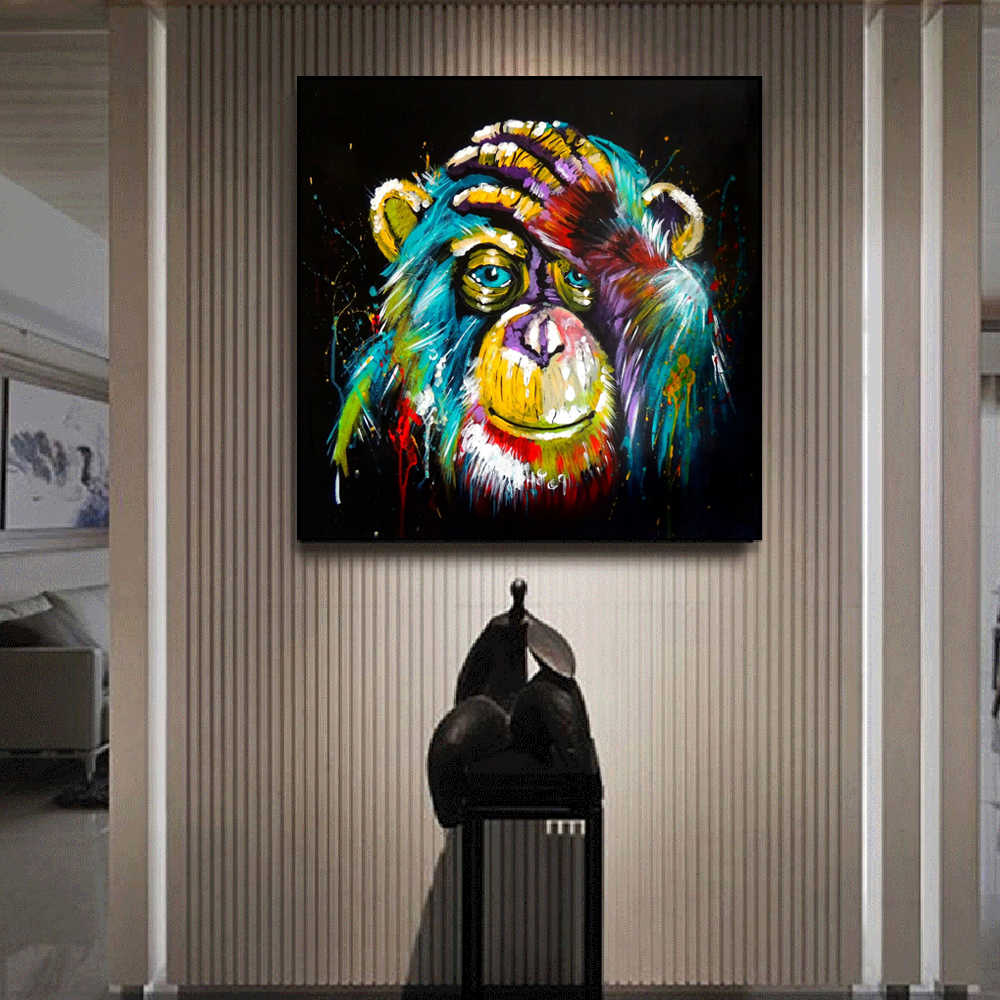 Watercolor Thinking Monkey Wall Art Canvas Prints Abstract Animals Pop Art Canvas Paintings Wall Decor Pictures For Kids Room