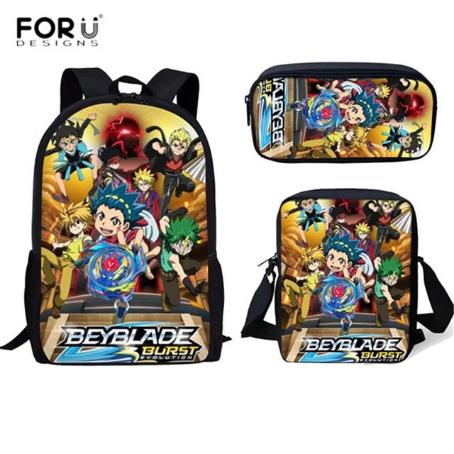 FORUDESIGNS 3PCS/Set School Bags Anime Beyblade Burst Evolution School Bookbag Bagpack for Teenage Girls Boys Laptop Backpacks