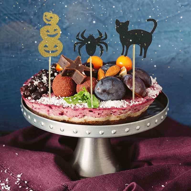 6 sztuk Halloween ciasto Topper dekoracji flagi fałszywy piłka wydajność pokaż zdjęcie rekwizyty dodaj świąteczną atmosferę uroczystości