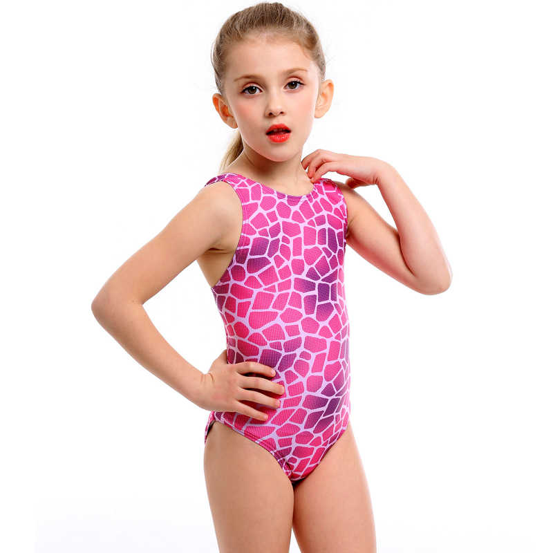 13be6b87fb5a2 Professional Swimwear children print ripple Girls One Piece Swimsuit kids  sexy Training Swimming Suit 2019 wave