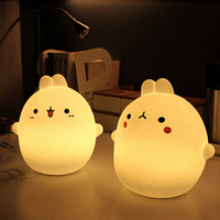 Creative small rabbit led cartoon colorful animal night light remote control children bedside lamp bed lamp charging