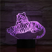 Children's Led Night Light Sleep Tiger Acrylic 3d Illusion Led Table Lamp with Touch Switch Base for Kids Bedroom Decor Gift dolphin lamp 3d illusion led night light 7 colors table novelty decor lights with touch button for friends kids gift 3578
