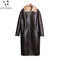 Real Sheepskin coat 2018 women winter thick warm Merino Sheep Fur jacket shearing fur leather soft sheepskin coat long design