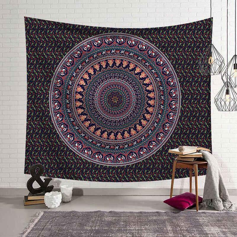 Parede tapeçaria Pendurada Poliéster Indiano Mandala Padrão Cobertor Decoração Tapete de Yoga Multifuncional Pequeno 95x73cm