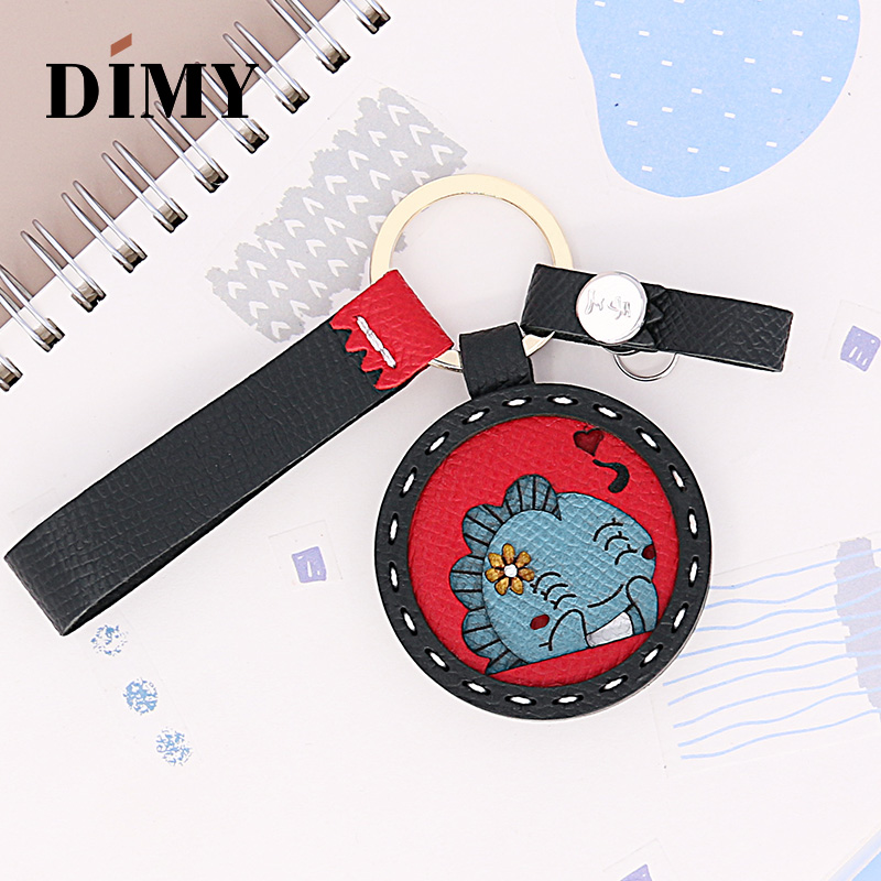 DIMY Handmade Genuine Cowhide Leather Cute Monster Altman Charms Keychain Pendant Gifts Wholesale Dropshopping Price Charms Bags
