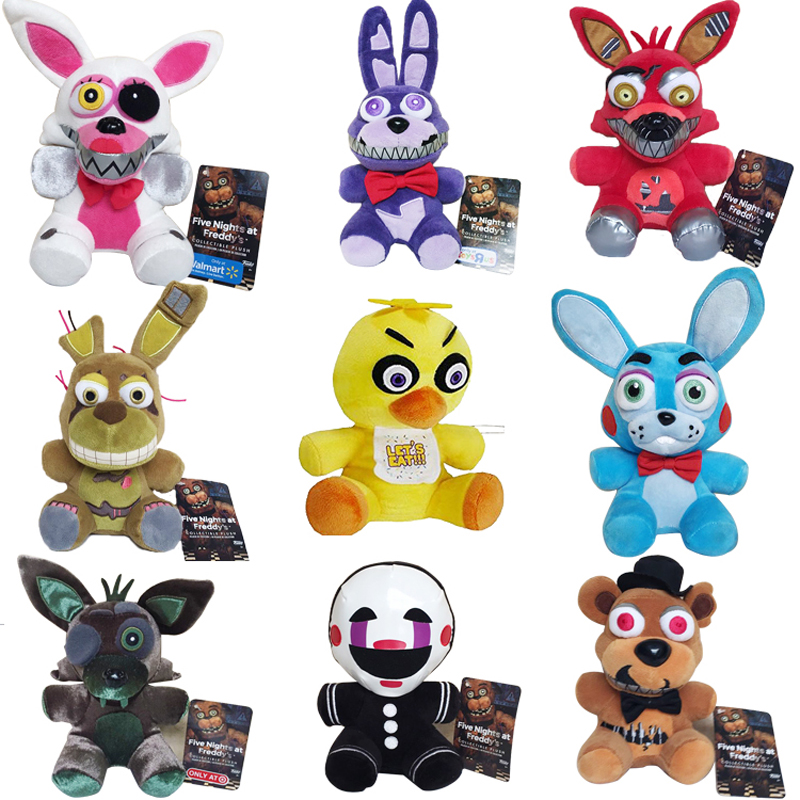 New Arrival Five Nights At Freddy's 4 FNAF Plush Toys 18cm Freddy Bear Foxy Chica Bonnie Plush Stuffed Toys Doll for Kids Gifts цена