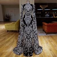 Floor Length Long Sleeves Muslim Kaftan Evening Prom Party Dresses Mermaid Sequined Lace Arabic Robe De Soiree Vestidos