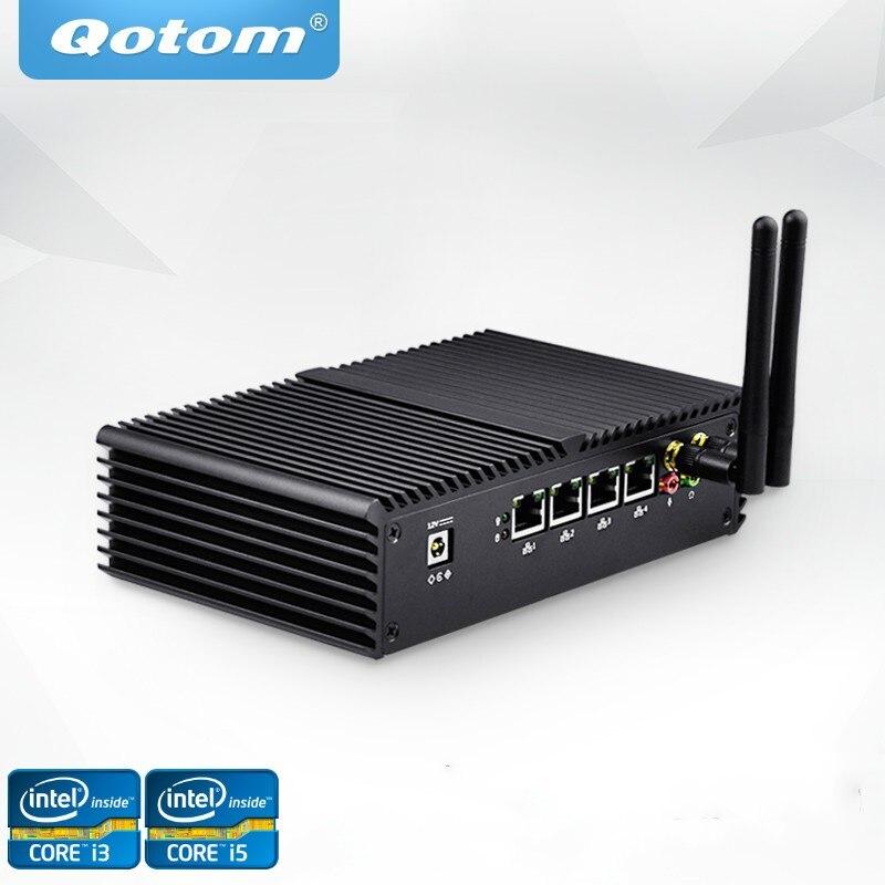 Free Shipping Qotom Mini PC 4 Gigabit LAN Ports Celeron Core I3 I5 I7 AES-NI Using Pfsense As Router Firewall Linux
