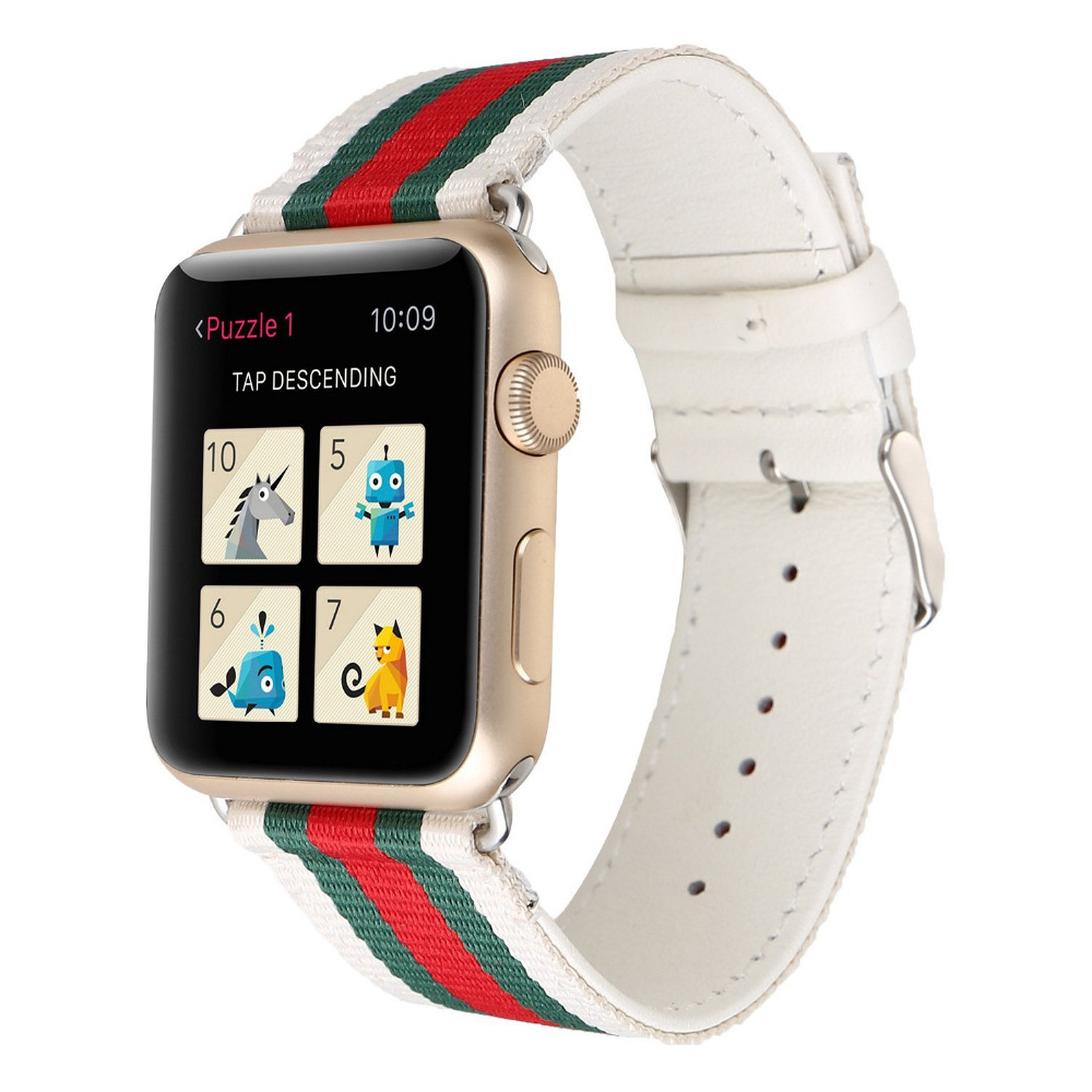CRESTED Genuine Leather watch strap for apple watch iwatch 42mm 38mm series 3/2/1 watch band bracelet wrist belt + metal buckle