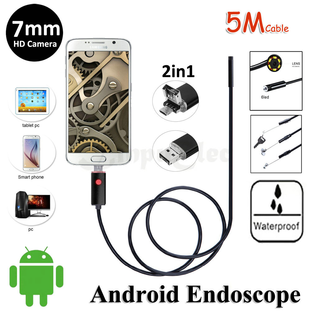 Black 7mm Lens 2in1 Android Endoscope USB Camera 5M Flexible Snake Pipe Inspection Android Phone MicroUSB Borescope Camera 6LED micro usb endoscope camera 7mm lens 1 5m flexible snake pipe inspection android phone otg usb borescope p67 waterproof camera