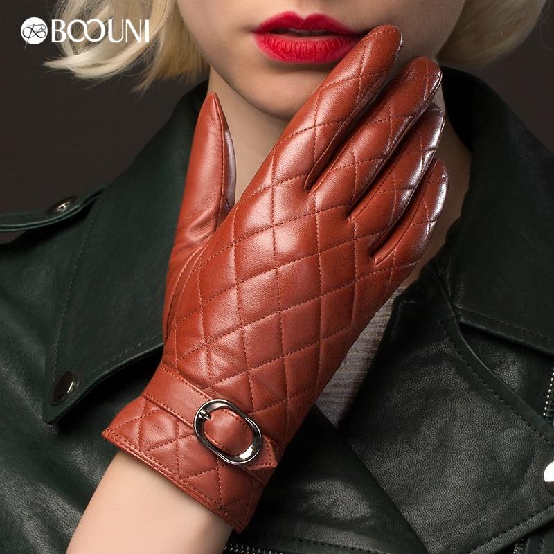 BOOUNI 정품 가죽 장갑 여성 패션 격자 무늬 진짜 양피 - 의류 액세서리 - 사진 5