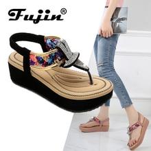 Fujin Summer Fashion Women Sandals Dropshipping Bohemian Flat-bottomed Shoes Metal Rhinestone Colored