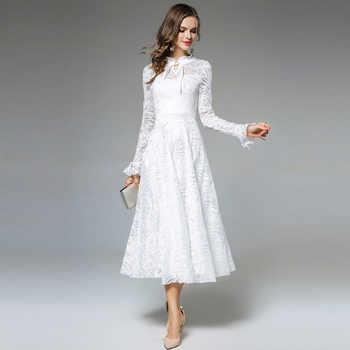 Willstage Long White Lace Dress Women Mesh Jacquard Floral Elegant Party Fairy dress Ruffled Sleeve 2019 Spring Winter Vestidos