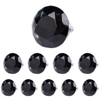 Classical 10Pcs Lot 40mm Diamond Shape Crystal Glass Drawer Cabinet Pull Handle Knob Black Free Shipping