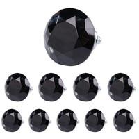 Classical 10Pcs Lot 40mm Diamond Shape Crystal Glass Drawer Cabinet Pull Handle Knob Black Free Shipping