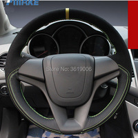 For Chevrolet Cruze High Quality Hand stitched Anti Slip Black Leather Black Suede Green Thread DIY Steering Wheel Cover