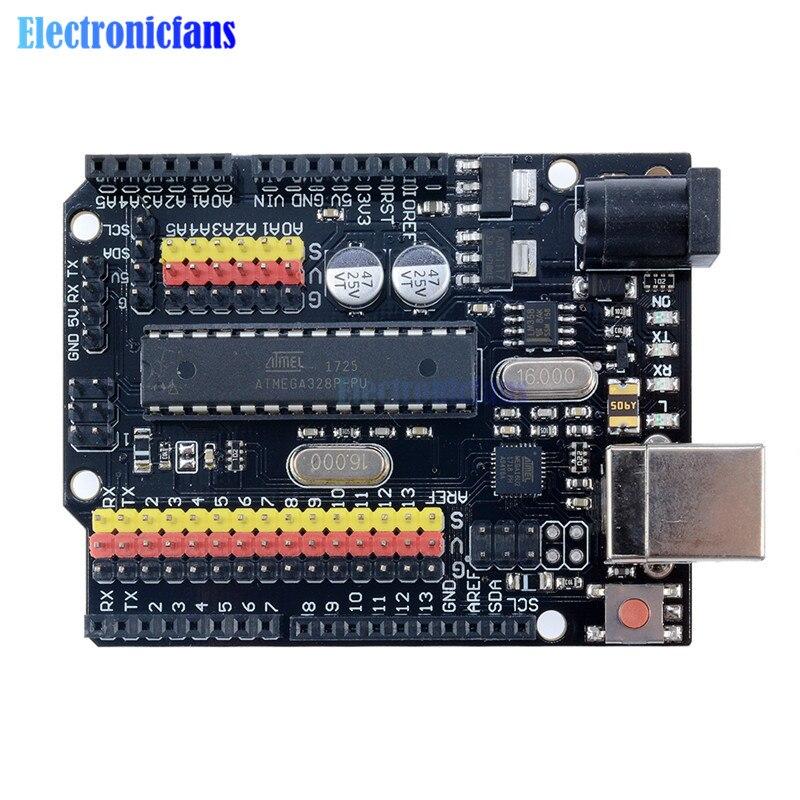 For Arduino UNO R3 PLUS Sensor I/O Shield Atmega328P Atmega16U2 Expansion Multifunctional Microcontroller Development Board OneFor Arduino UNO R3 PLUS Sensor I/O Shield Atmega328P Atmega16U2 Expansion Multifunctional Microcontroller Development Board One