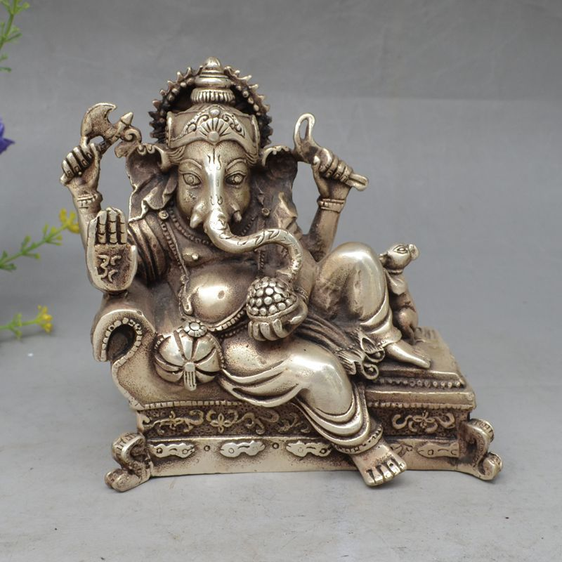 LIVRAISON GRATUITE 6 chanceux Chinois Tibet Argent 4 Bras Ganesh Éléphant Mammon Bouddha Souris Statue S0706