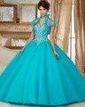 Dreagel Romântico Strapless Princesa vestido de Baile Quinceanera Vestido 2016 De Luxo Cristal Frisada Debutante Vestido Para 15 Anos Venda Quente