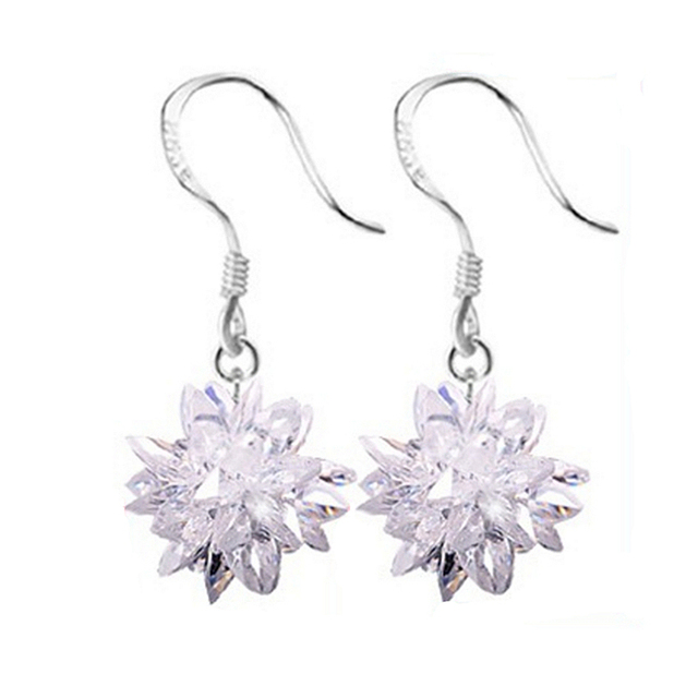 Nehzy Ms Silver Ice Crystal Earrings New Fashion Exquisite Stones Beautiful Flowers Lovely Princess Jewelry