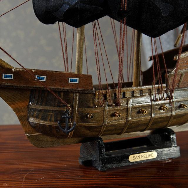 Marine Decor Wood Crafts Mediterranean Style Model Pirate Ship Pirates Caribbean Home Decoration Accessories