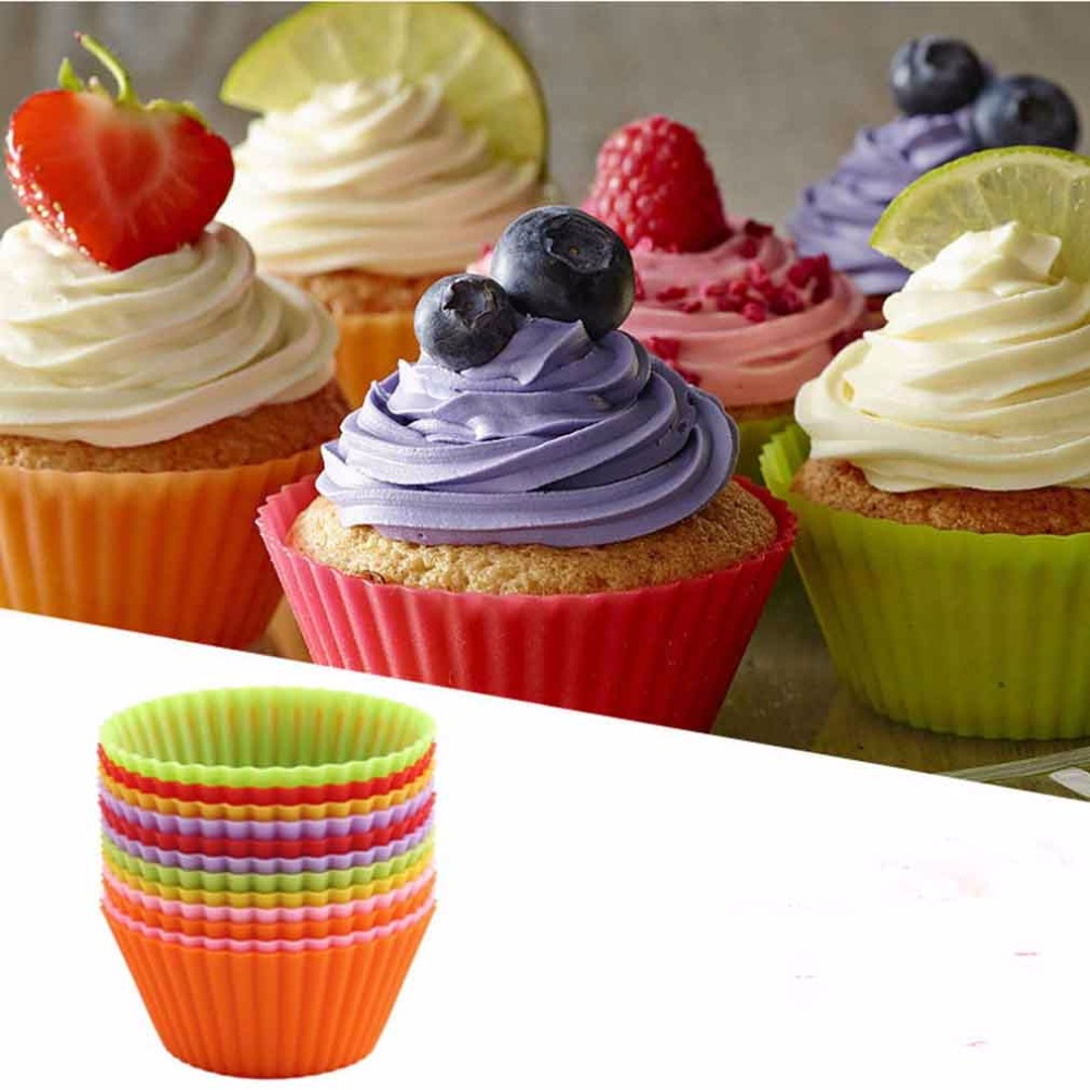 12 pcs Round shape <font><b>Silicone</b></font> <font><b>Cake</b></font> <font><b>Muffin</b></font> <font><b>Chocolate</b></font> <font><b>Cupcake</b></font> <font><b>Liner</b></font> Baking Cup Cookie Mold New Arrival
