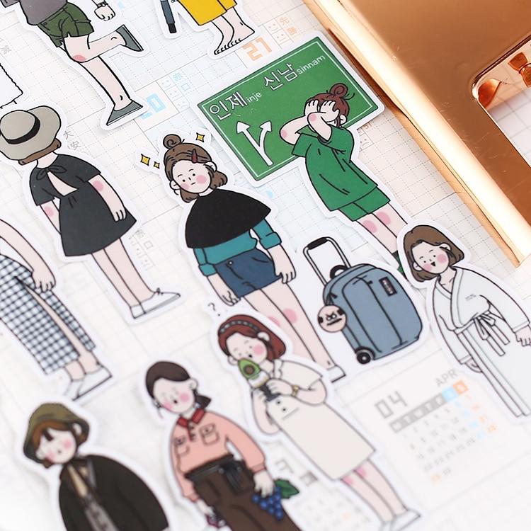 26Pcs/pack Cute Hand Drawn Girls Stickers Scrapbooking Decoration Paper Stationery DIY Sticker School Supply/waterproof Stickers