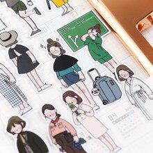 26 unidades/pacote bonito mão desenhada meninas adesivos scrapbooking decoração papel artigos de papelaria adesivo diy escola abastecimento/adesivos à prova dwaterproof água