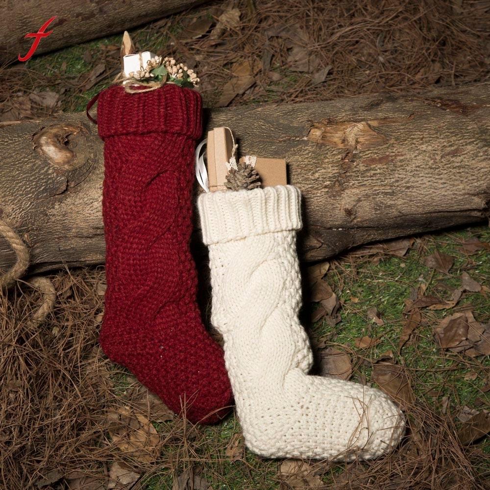2017 New Fashion Woolen Yarn Socks Sack Gift Filler Decoration Sock Novelty sock Merry christmas Red White socks