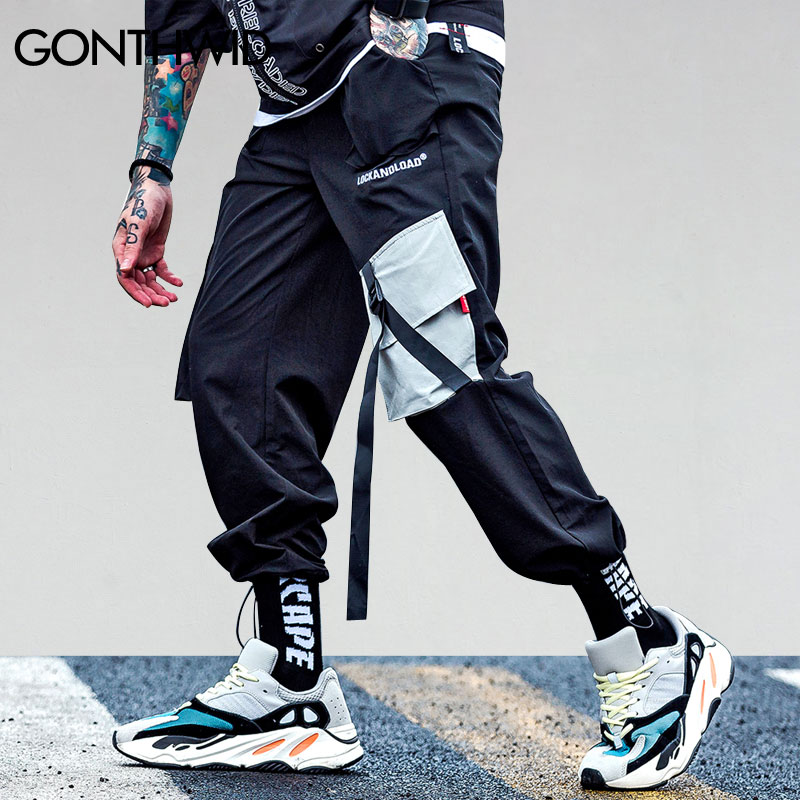 GONTHWID 2018 Pockets Cargo Harem Pants Mens Casual Joggers Baggy Tactical Trousers Harajuku Streetwear Hip Hop Fashion Swag(China)