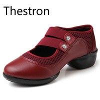Thestron Обувь для танцев Для женщин черный, красный Обувь для танцев на низком каблуке практикующих кожа Обувь для девочек спортивные Спортивн...