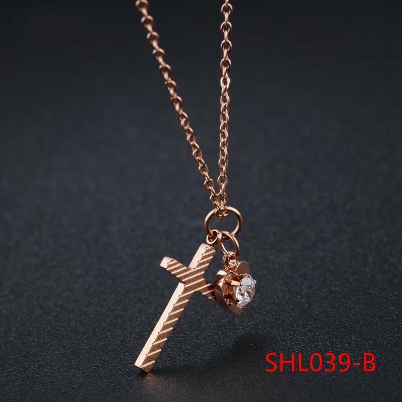 Short Chain Fashion Love Cross Pendant Titanium Steel Rose Necklace Woman