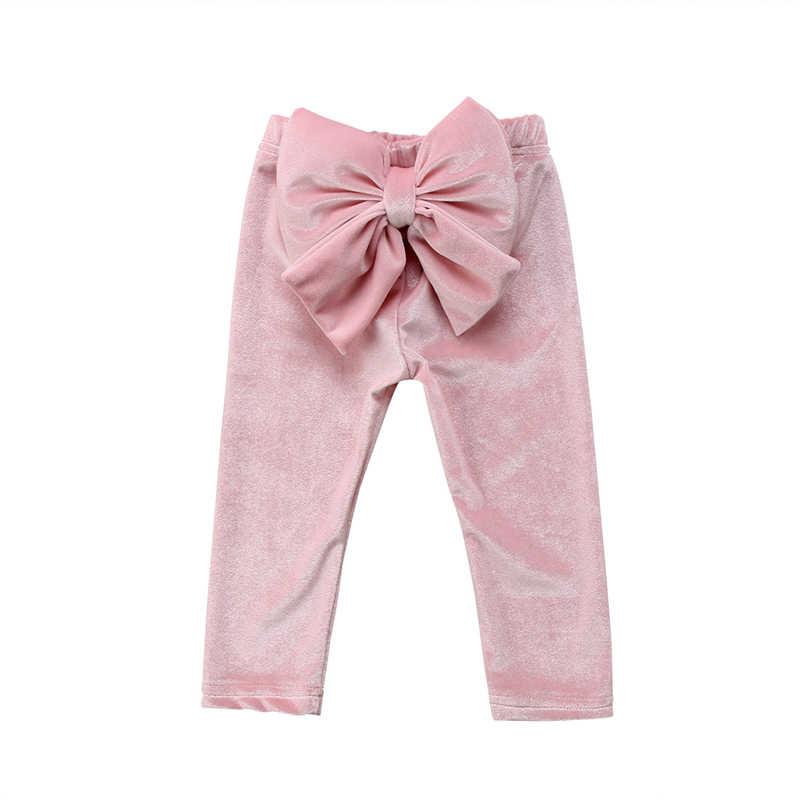 Mode Meisjes Broek 2018 Nieuwe Peuter Kinderen Baby Meisjes Grote Strik Bodems Kids Meisje Pleuche Broek Leggings Kleren Meisje Kostuum