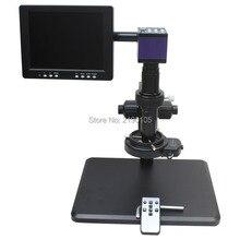 Discount! HDMI HD USB Digital Industry Microscope Camera+Fine adjustment bracket+10X-200X C-Mount Lens+144 LED Light+8-inch Monitor