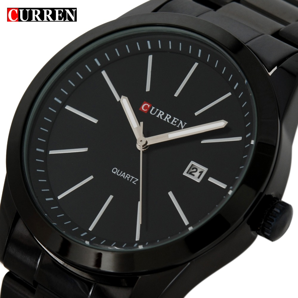 Fashion Black Curren casual full steel quartz Watch men Black Business Wristwatch waterproof Relojes Hombre Relogio 2017 fashion black full steel men casual quartz watch men clock male military wristwatch gift relojes hombre crrju brand women watch