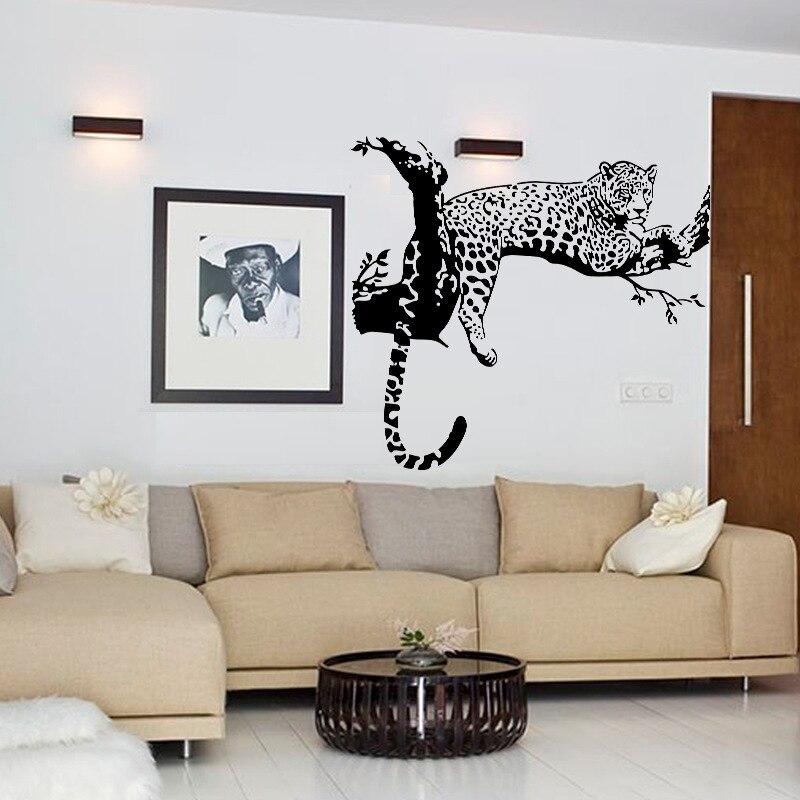 Cool Black Leopard Albero Sticker Camera Da Letto Soggiorno Pareti ...