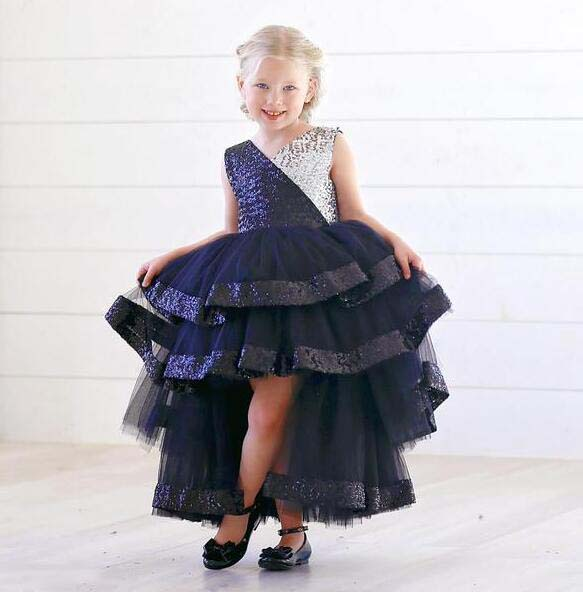 Sparkly High low Bling silver and black sequins V neck flower girl dress tired toddler baby
