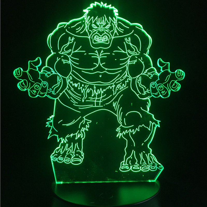 HOT 3D LED USB Lamp Action Movie Marvel Avengers Figure Hulk Batman Super Hero Minifigures Colorful Night Lighting Boy Kids Toys new hot 22cm avengers super hero hulk movable action figure toys christmas gift doll with box