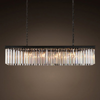 Z American Country Retro K9 Crystal E14 LED Rectangular Chandelier Dining Room Living Room Bedroom Store