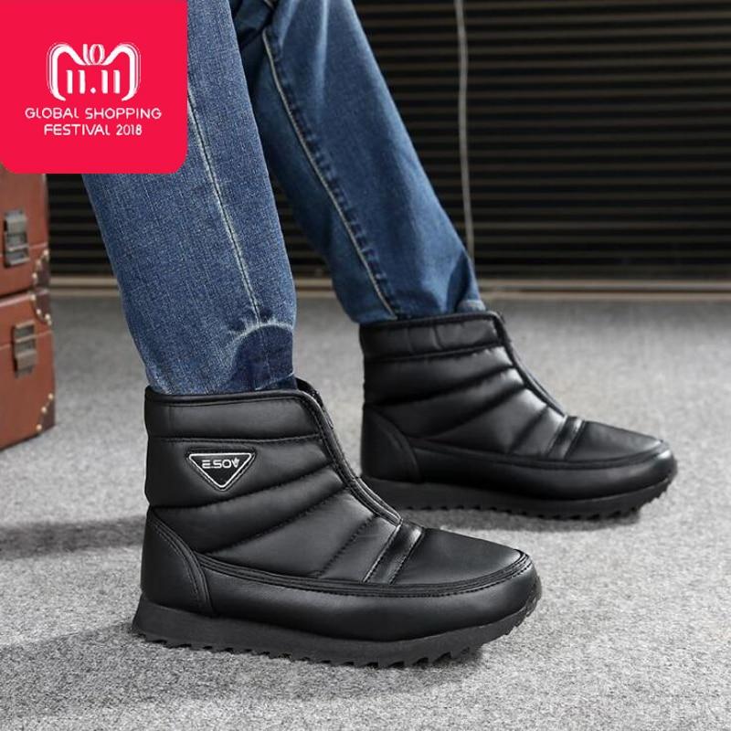Men boots 2018 winter platform snow boots waterproof non-slip winter shoes botas hombre bota masculina
