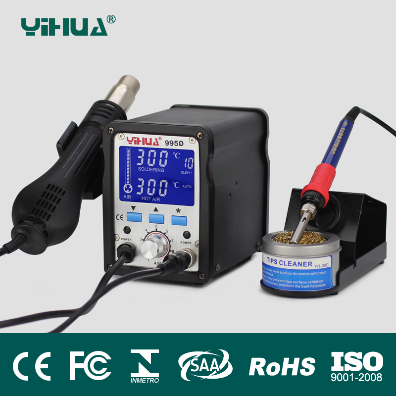 yihua 2 In 1 Soldering Station 995d Hot Air Gun Soldering Iron Motherboard Desoldering Welding Repair 110v us or 220v eu, au, gb