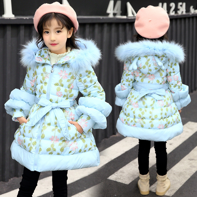 Girls Parkas 2019 Winter Girl Coat Fashion Thickening Cotton wadded Jackets Hooded Fur Collar Children s