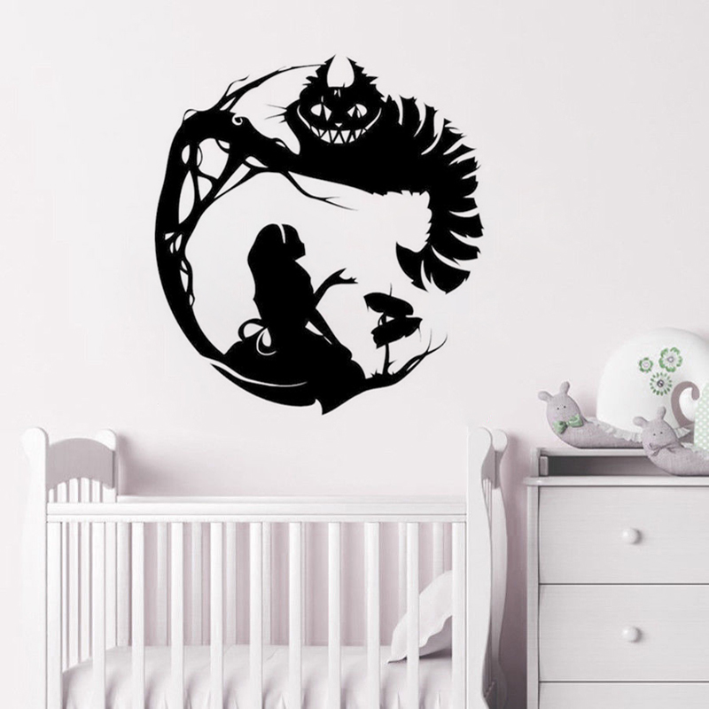 Alice In Wonderland Silhouette Wall Sticker Cartoon Character Wall Decal Vinyl Wall Mural Cute Lovely Kids Room Wallpaper F865 in Wall Stickers from Home Garden