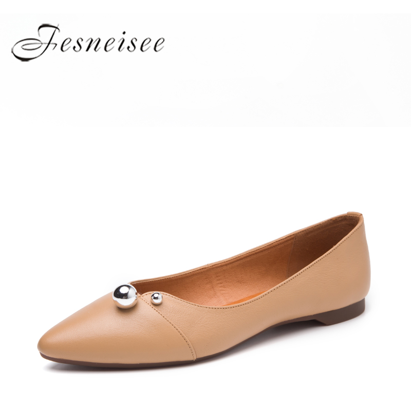 FESNEISEE Spring Summer Fashion Women Shoes Genuine leather Loafers Women Flats Pointed Toe Casual Shoes Plus Size 35-40 P6.0 2017 new fashion spring summer boat shoes women candy color flats pointed toe slip on flat fashion casual plus size pu shoes